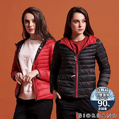 GIORDANO 女裝90%白鴨絨雙面穿可收納連帽極輕羽絨外套-97 紅/黑印花