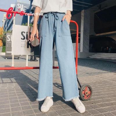 【brs】 抽繩褲腳刷毛大口袋單寧寬褲