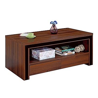 品家居 朵斯4尺胡桃木紋大茶几(含椅凳2入)-121x60x53cm免組
