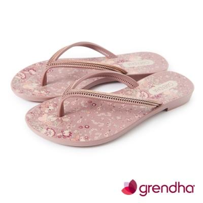 Grendha 歐洲小花園人字帶夾腳鞋-粉玫色