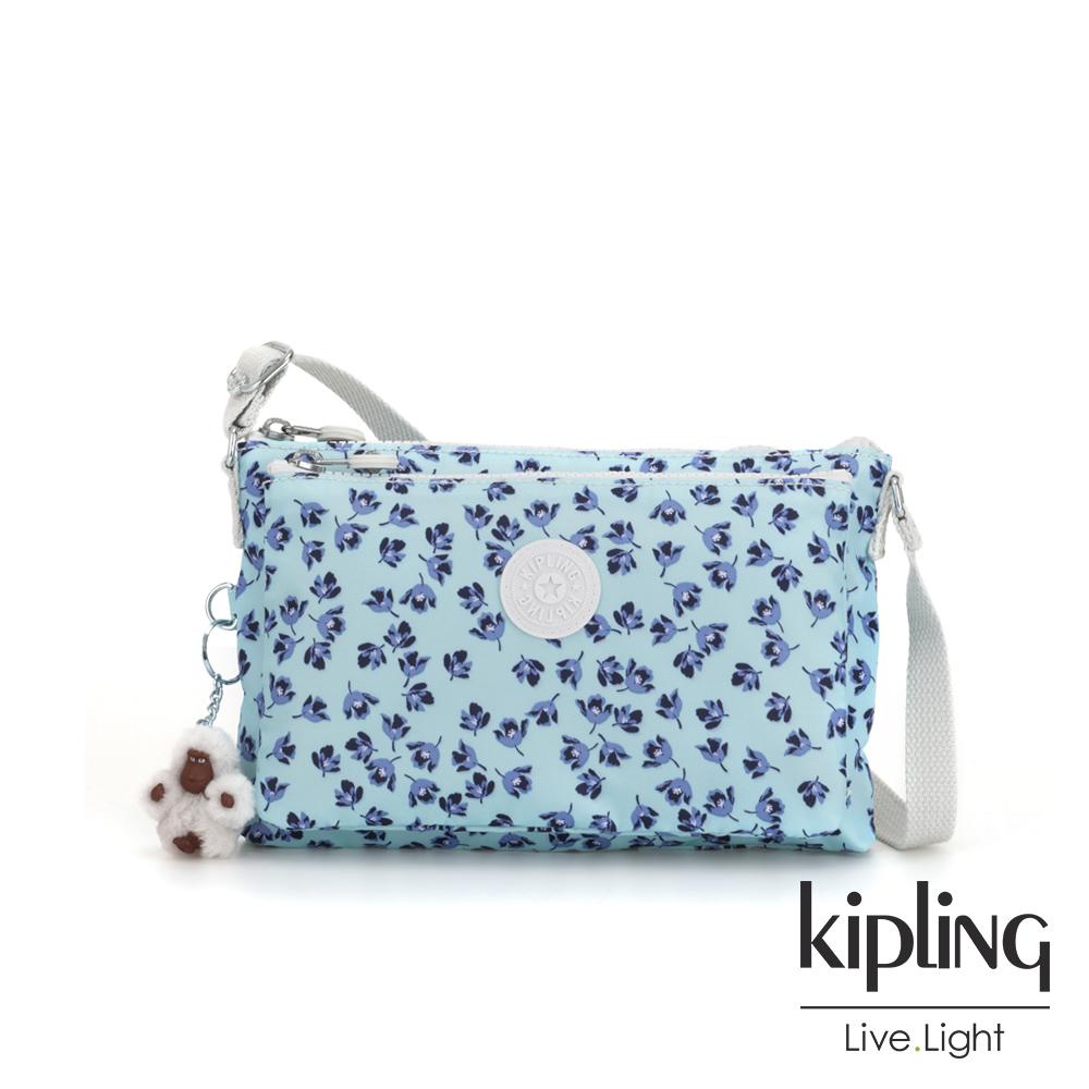 Kipling 典雅淡藍小花雙內袋斜背小包-MIKAELA