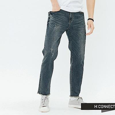 H:CONNECT 韓國品牌 男裝-不收邊微彈性牛仔褲-藍