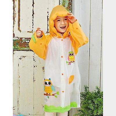 半島良品 韓國動物充氣帽兒童雨衣雨鞋-橘色貓頭鷹L