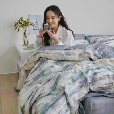 翔仔居家 台灣製 100%天絲兩用鋪棉被套&床包4件組-粼光 (雙人)