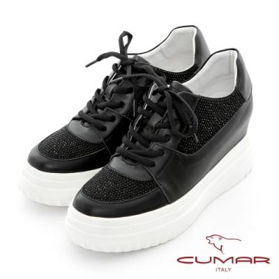 【CUMAR】真皮拼接閃耀亮鑽綁帶厚底休閒鞋-黑