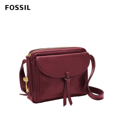 FOSSIL 母親節優惠 Mila 真皮純色斜背包-磚紅色 ZB1370599