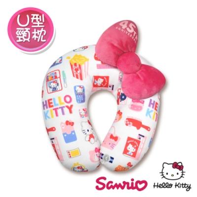 Hello Kitty 凱蒂貓 彩色繽紛蝴蝶結U型頸枕/午安枕/抱枕