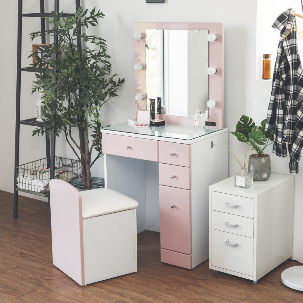 完美主義 LED燈化妝桌椅組/化妝椅/化妝台/梳妝台(2色)