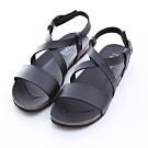 ZUCCA-素面交錯紋楔型涼鞋-黑-z6619bk