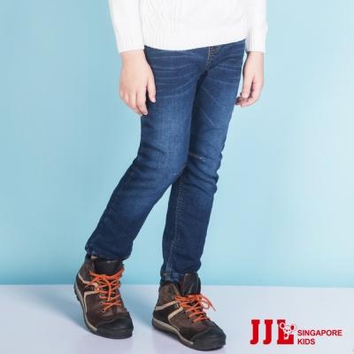 JJLKIDS 俐落仿舊刮痕內刷毛修身牛仔褲(牛仔藍)