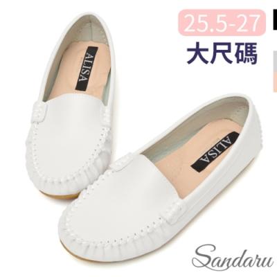 山打努SANDARU-大尺碼鞋 國民豆豆鞋 素面極簡軟底休閒鞋-白