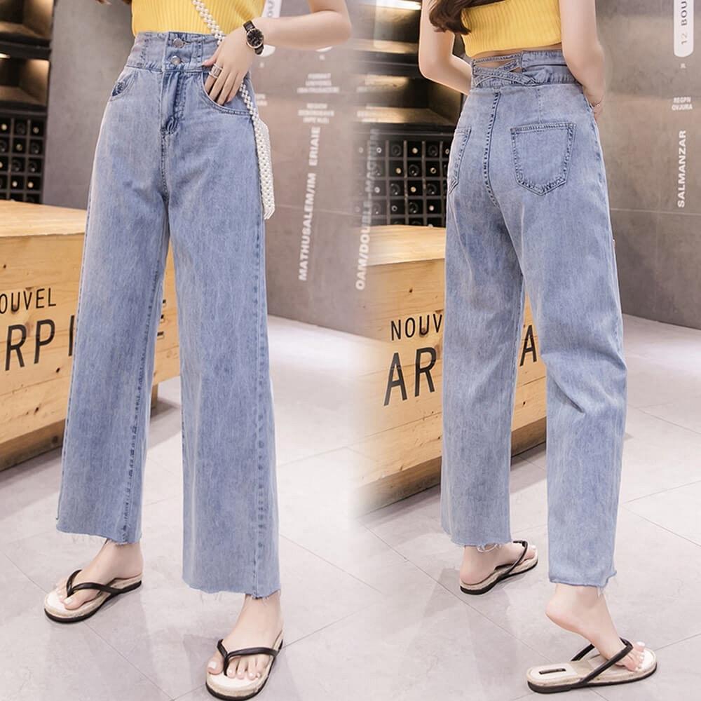 新穎時尚顯瘦高腰淺色丹寧牛仔闊腿寬褲S-XL-WHATDAY