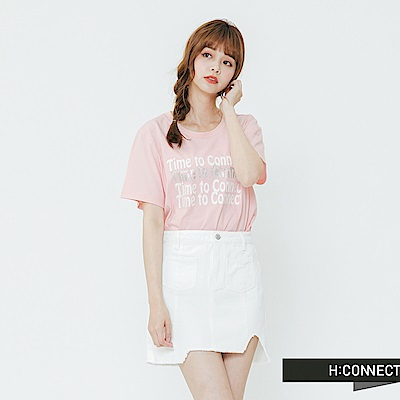H:CONNECT 韓國品牌 女裝-休閒印字圓領T-shirt-粉