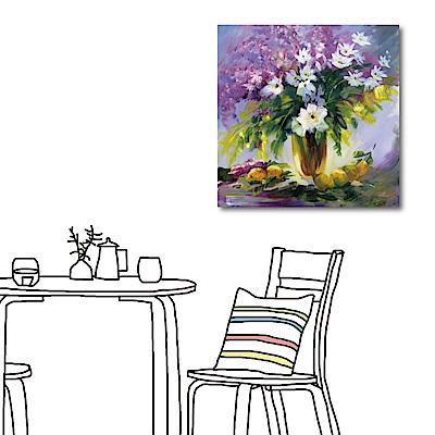 橙品油畫布-單聯式方型 掛畫大無框畫-紫花-60x60cm