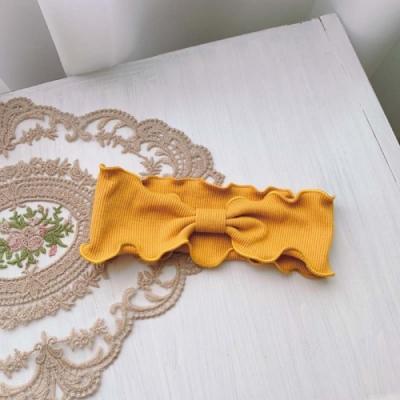 【89 zone】法式蝴蝶結頭帶波浪邊折疊運動瑜伽髮束/髮帶 1 入 (黃色)