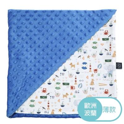 La Millou 單面巧柔豆豆毯(加大款)-海灘小象(藍)-加勒比海藍-嬰兒毯寶寶被毯冷氣毯