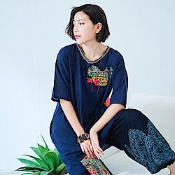 潘克拉 織布毛線設計款長版上衣- 藍色