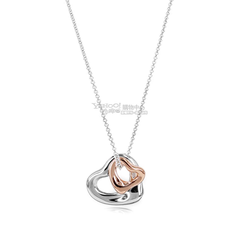 Tiffany&Co. 純銀+18K玫瑰金 迷你雙心墜飾項鍊