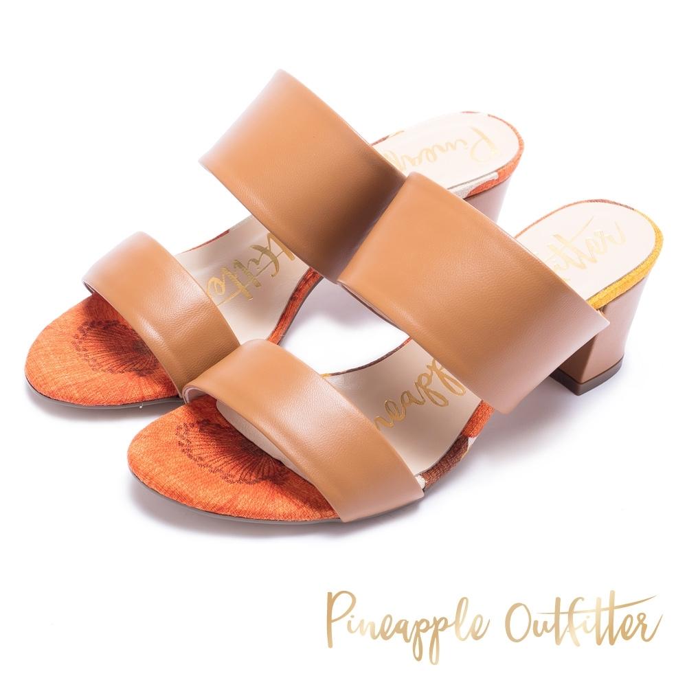 Pineapple Outfitter-寬版二字帶高跟拖鞋-棕色