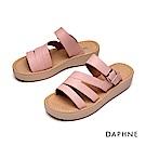 達芙妮DAPHNE 涼鞋-縷空幾何條帶厚底拖鞋-淺粉紅