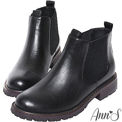 Ann'S倫敦騎士  -訂製側鬆緊切爾西短靴 黑