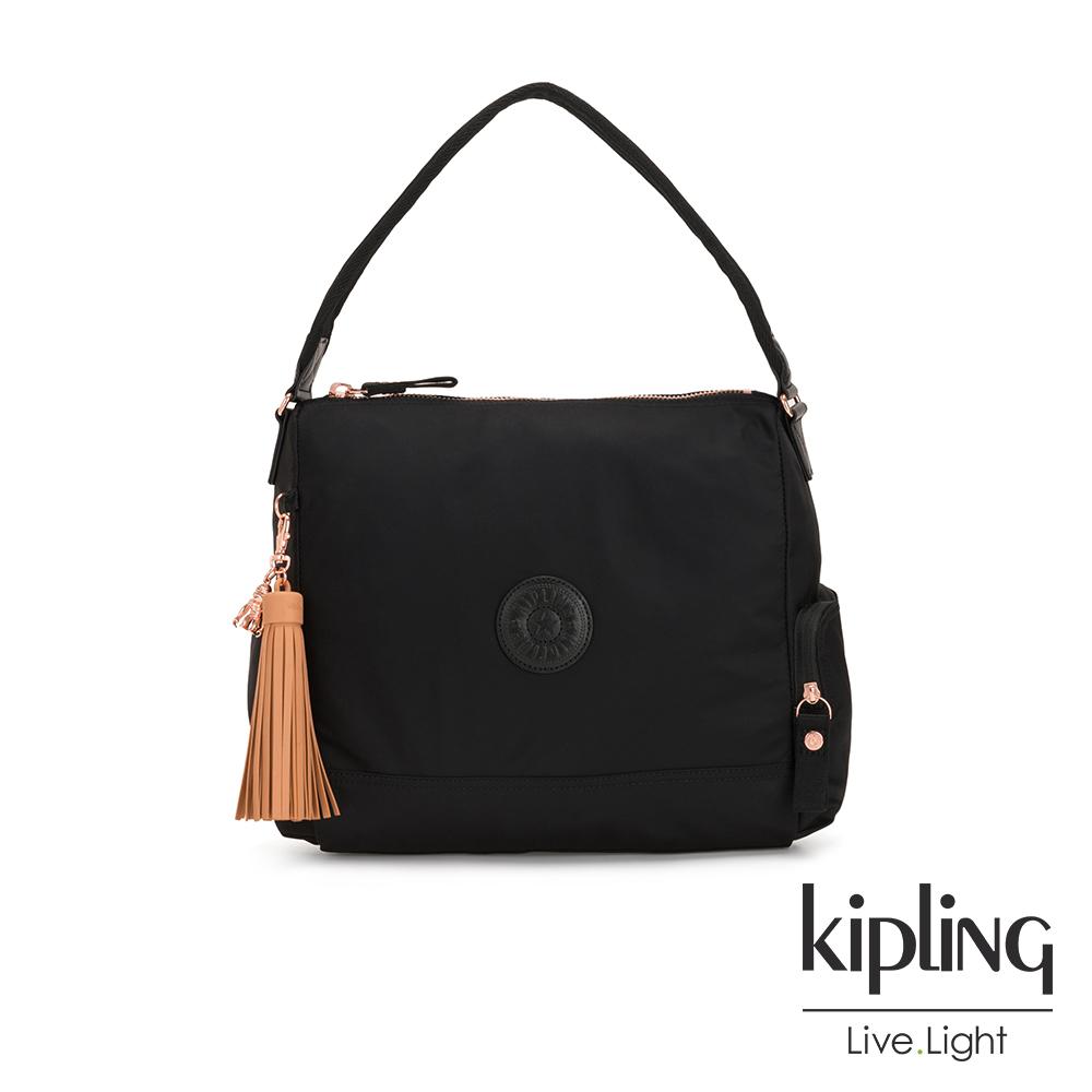 Kipling 率性玫瑰金細節黑色舞動流蘇肩背包-ISMAY