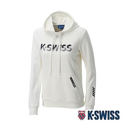 K-SWISS KS Logo Hoodie 連帽上衣-女-米白
