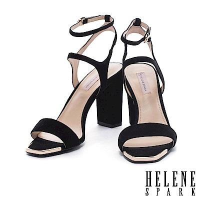 涼鞋 HELENE SPARK 夏日典雅一字羊麂皮繫帶美型高跟涼鞋-黑