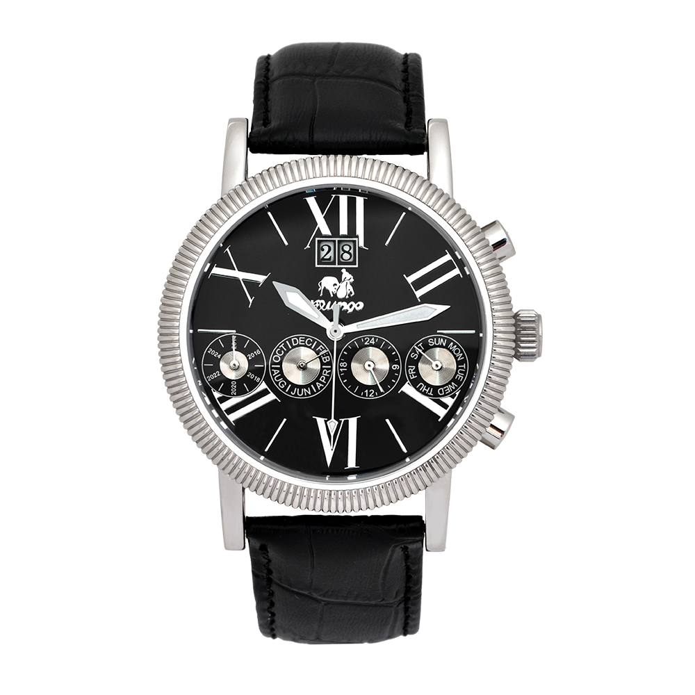 Flungo 佛朗明哥 七針大日曆機械腕錶【銀色/黑皮/黑面】