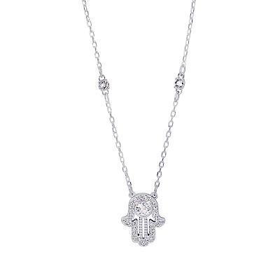 SWAROVSKI 施華洛世奇 璀璨水晶Hamsa哈姆薩之手銀色項鍊