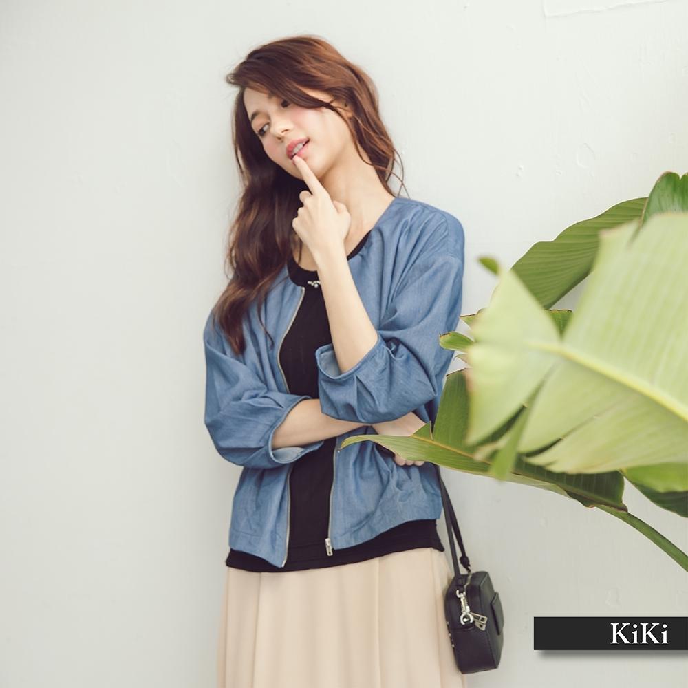 【KiKi】簡約丹寧-女七分袖外套(三色/版型合身)