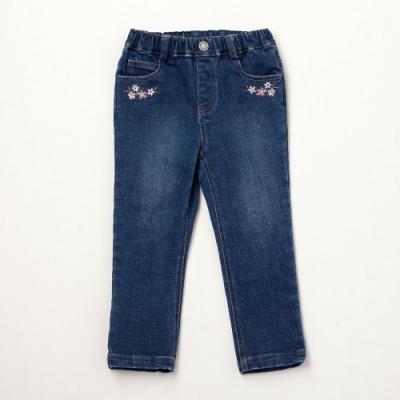 PIPPY 小花刺繡彈性牛仔長褲 藍
