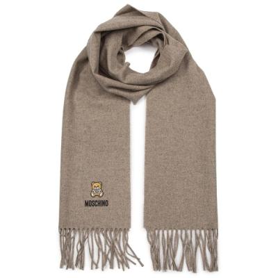 MOSCHINO 經典刺繡泰迪熊字母LOGO圖案100%羊毛圍巾/披肩 燕麥色