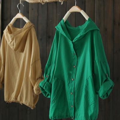 寬松苎麻連帽防曬衣輕薄棉麻短外套蝙蝠衫-設計所在