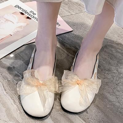 KEITH-WILL時尚鞋館 瘋搶時尚綁帶款平底淑女娃娃鞋-米