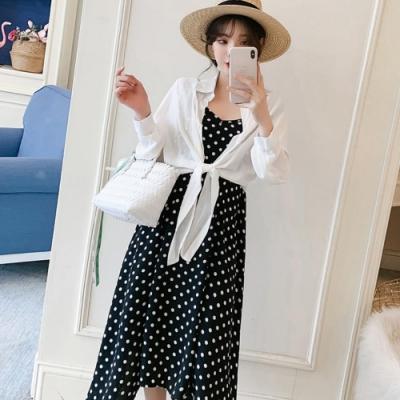 中大尺碼白色綁帶雪紡罩衫加白色點點大擺背心裙套裝XL~4L-Ballet Dolly