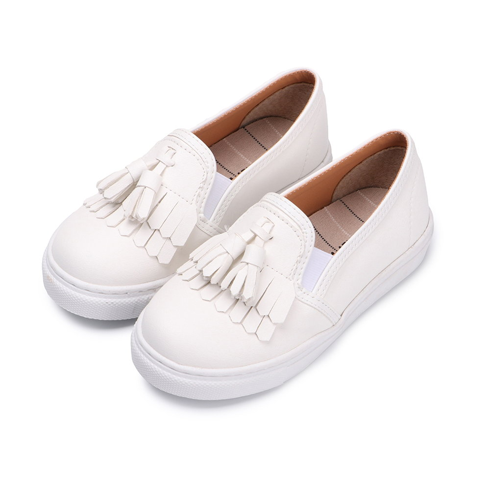 BuyGlasses 訂製款流蘇兒童懶人鞋-白