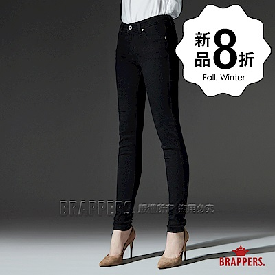 BRAPPERS 女款 LC-Cargo系列-中低腰素面彈性窄管褲-黑