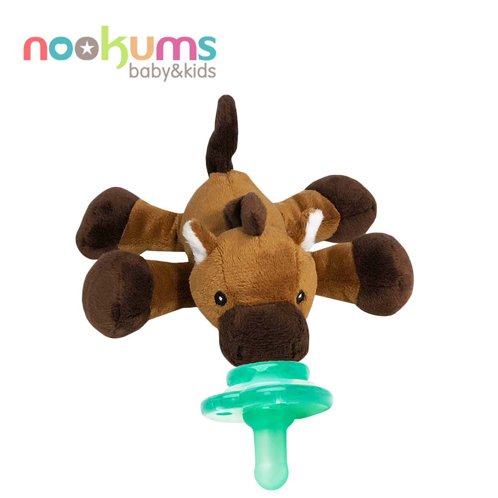 美國 nookums 寶寶可愛造型搖鈴安撫奶嘴/玩偶-小馬哥