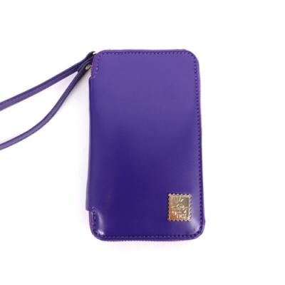 agnes b 皮革票卡收納包(紫)