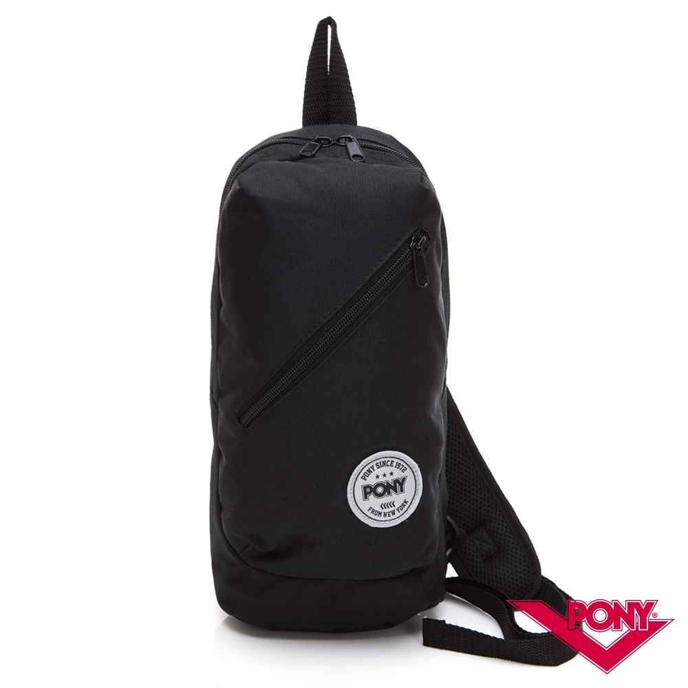 【PONY】運動旅遊休閒輕便單肩包 斜挎包 胸包 斜肩包 黑