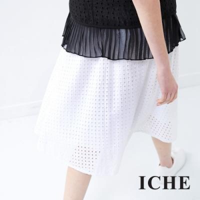 ICHE 衣哲 簡約無印風百搭造型圓裙-白