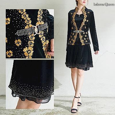 Kaleena Queen 二件式晶鑽黃金刺繡絲絨晚宴套裝-黑色