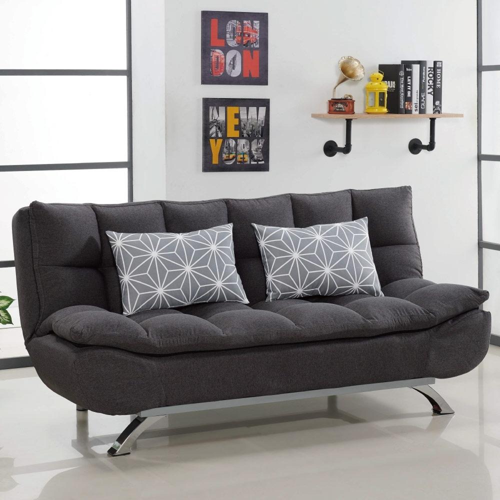 文創集 卡格登時尚灰棉麻布分段式沙發/沙發床(展開式機能設計)-182x75x84cm免組