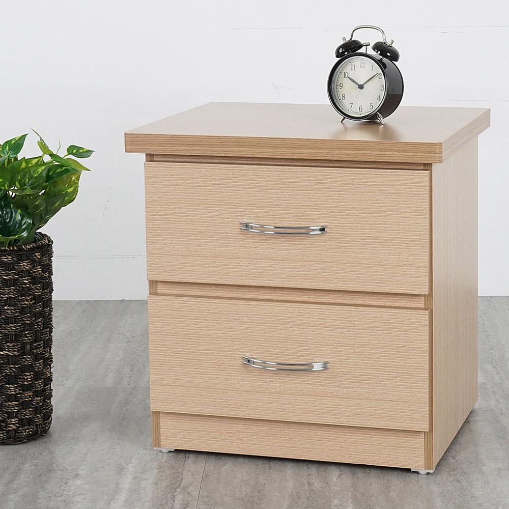 Homelike 艾凡二抽床頭櫃-白橡木紋