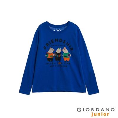 GIORDANO 童裝童趣塗鴉風印花長袖T恤-43 青金石藍