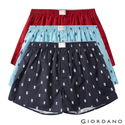 GIORDANO 男裝純棉寬鬆平底四角褲(三件裝)-61 獅王圖案