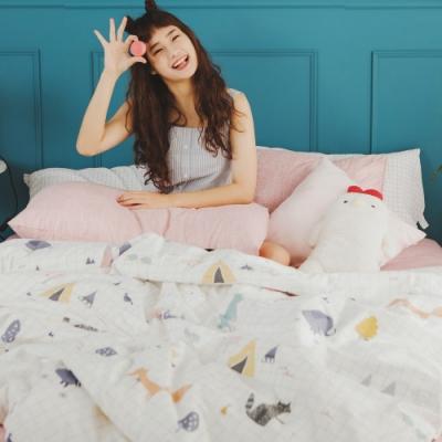 絲薇諾 MIT精梳純棉  白日夢櫻粉  雙人加大6尺-薄被套床包四件組
