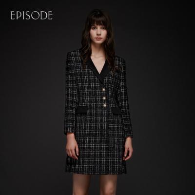 EPISODE - 斜紋軟毛呢優雅修身西裝款洋裝(黑)