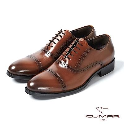 CUMAR英式牛津 復古質感舒適皮鞋-咖啡